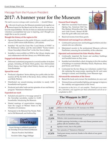 Page 4 of 2017: A banner year for the Museum