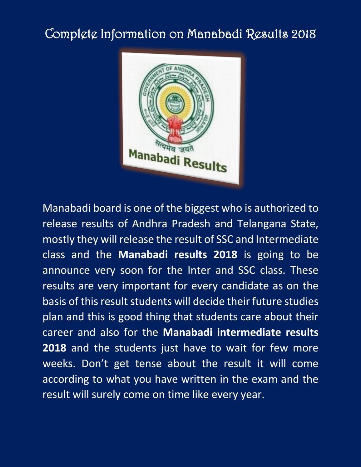 Manabadi Results 2018, Manabadi Inter Results 2018, Official