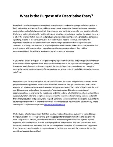 Obesity Essay Thesis What Is The Purpose Of A Descriptive Essay Hypothesis Creating  Incorporates A Couple Of Strategies Which Makes The Aggregate Of The  Experience Both  Science Essay Example also Important Of English Language Essay What Is The Purpose Of A Descriptive Essay By Thesisforyou  Issuu English Language Essay