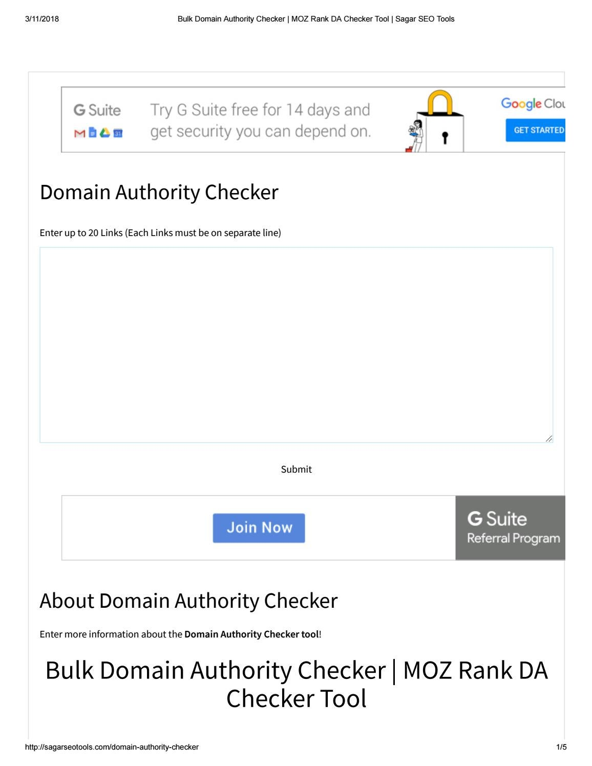 Bulk domain authority checker moz rank da checker tool sagar