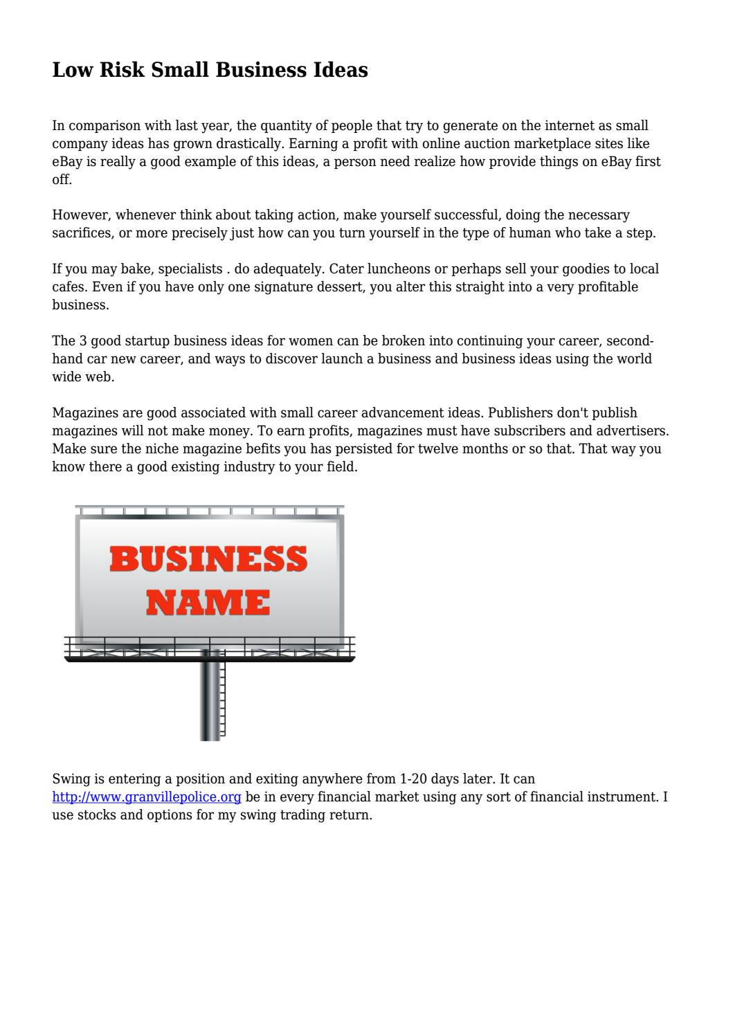 Low Risk Small Business Ideas By Airmagazinefield Issuu