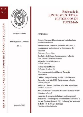 REVISTA N° 13 Junta Estudios Históricos de Tucuman (2013) by Junta ... eb5a4a62853