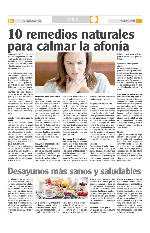 Como Curar La Afonia 11 marzo2018 11004diario crónica - issuu