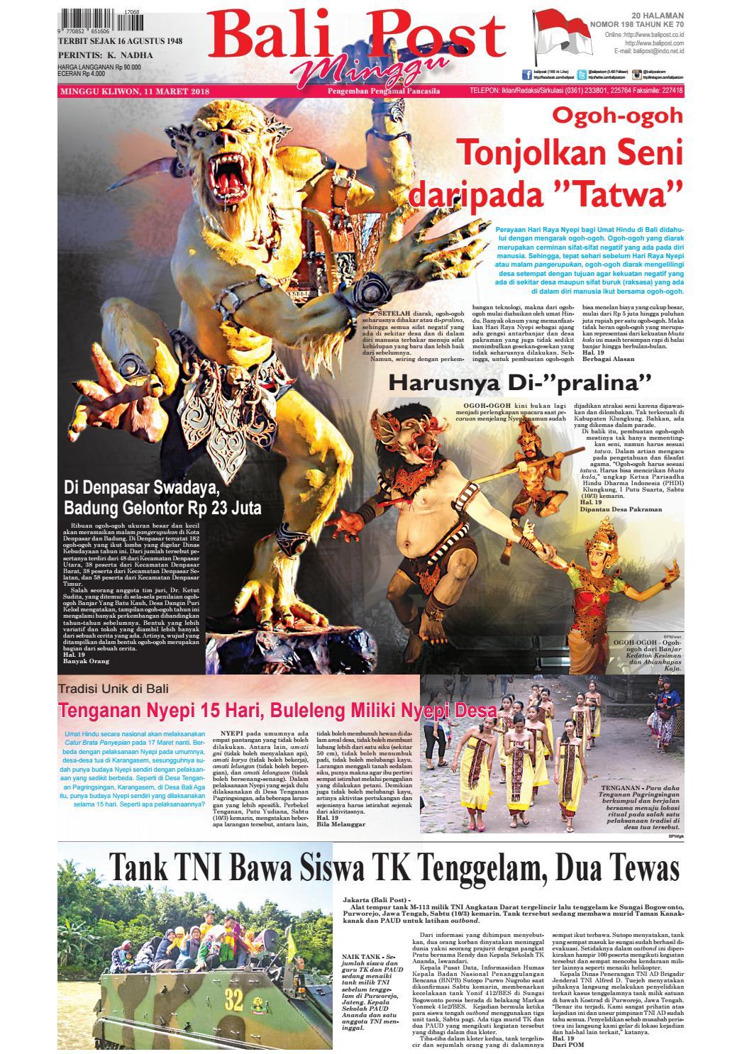Edisi Selasa 11 Maret 2018 Balipostcom By E Paper KMB Issuu