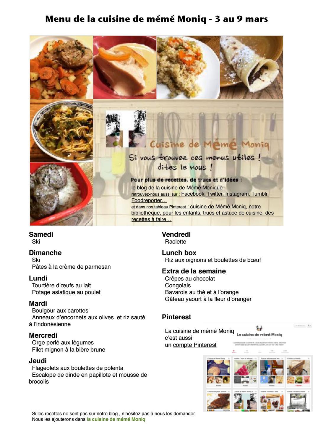 Menu De La Cuisine De Meme Moniq 3 Au 9 Mars By Cuisine De Meme