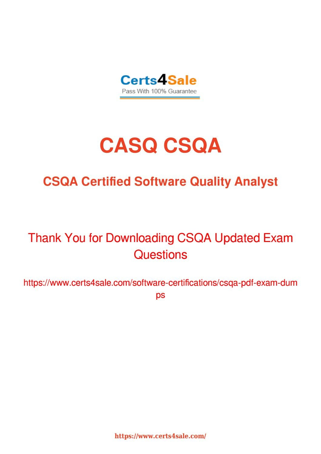 Try Software Certifications Csqa Exam Questions With 100 Success