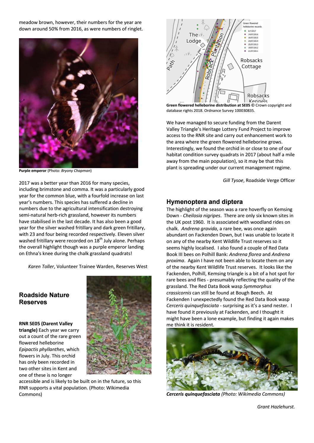 Kent Wildlife Trust Ecology and Evidence newsletter winter 2017 2018