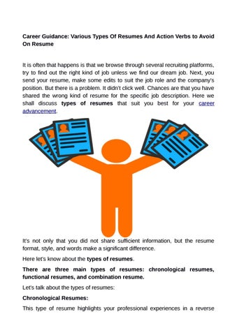 Career Guidance Various Types Of Resumes And Action Verbs To Avoid