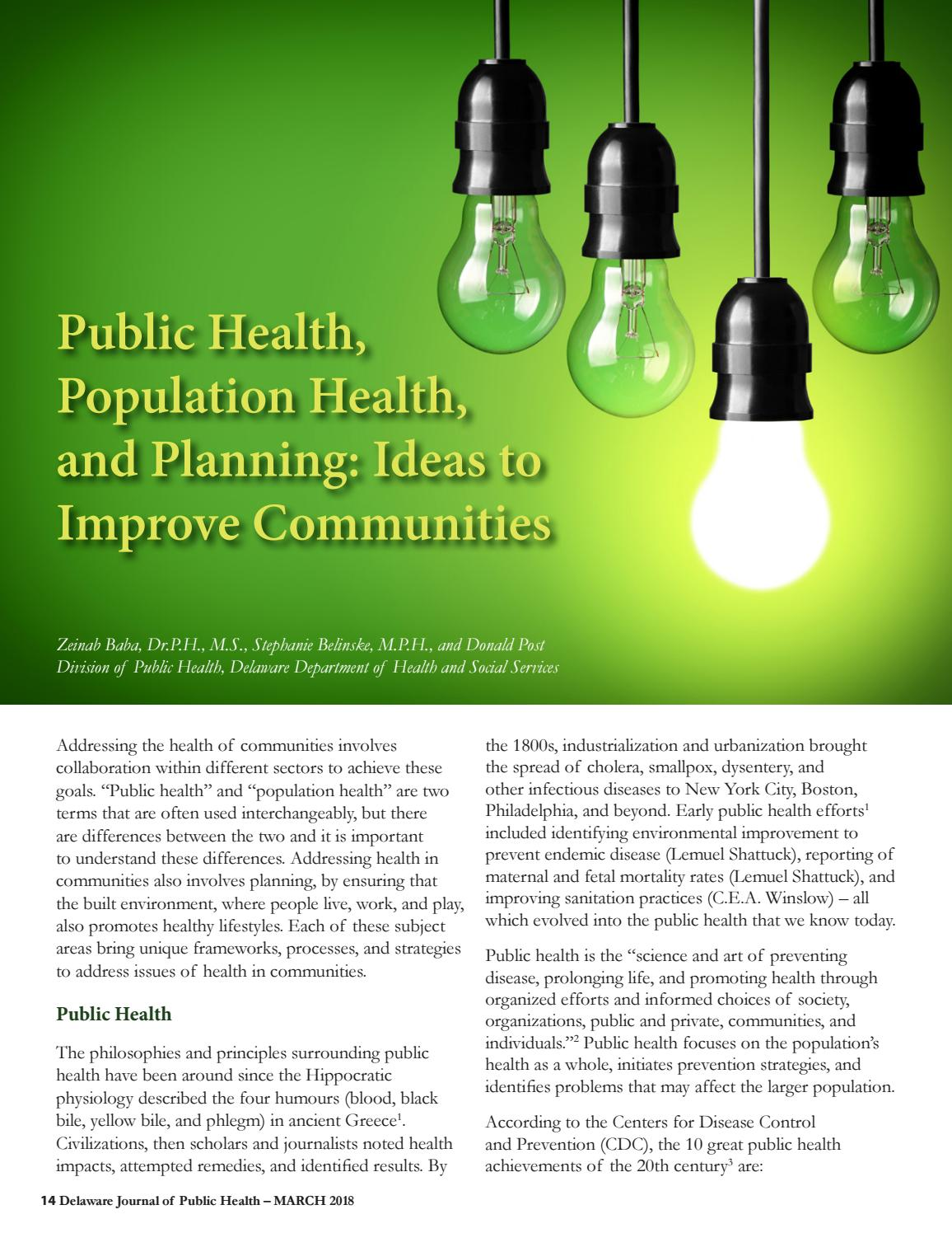 Delaware Journal of Public Health - Planning and Public Health by