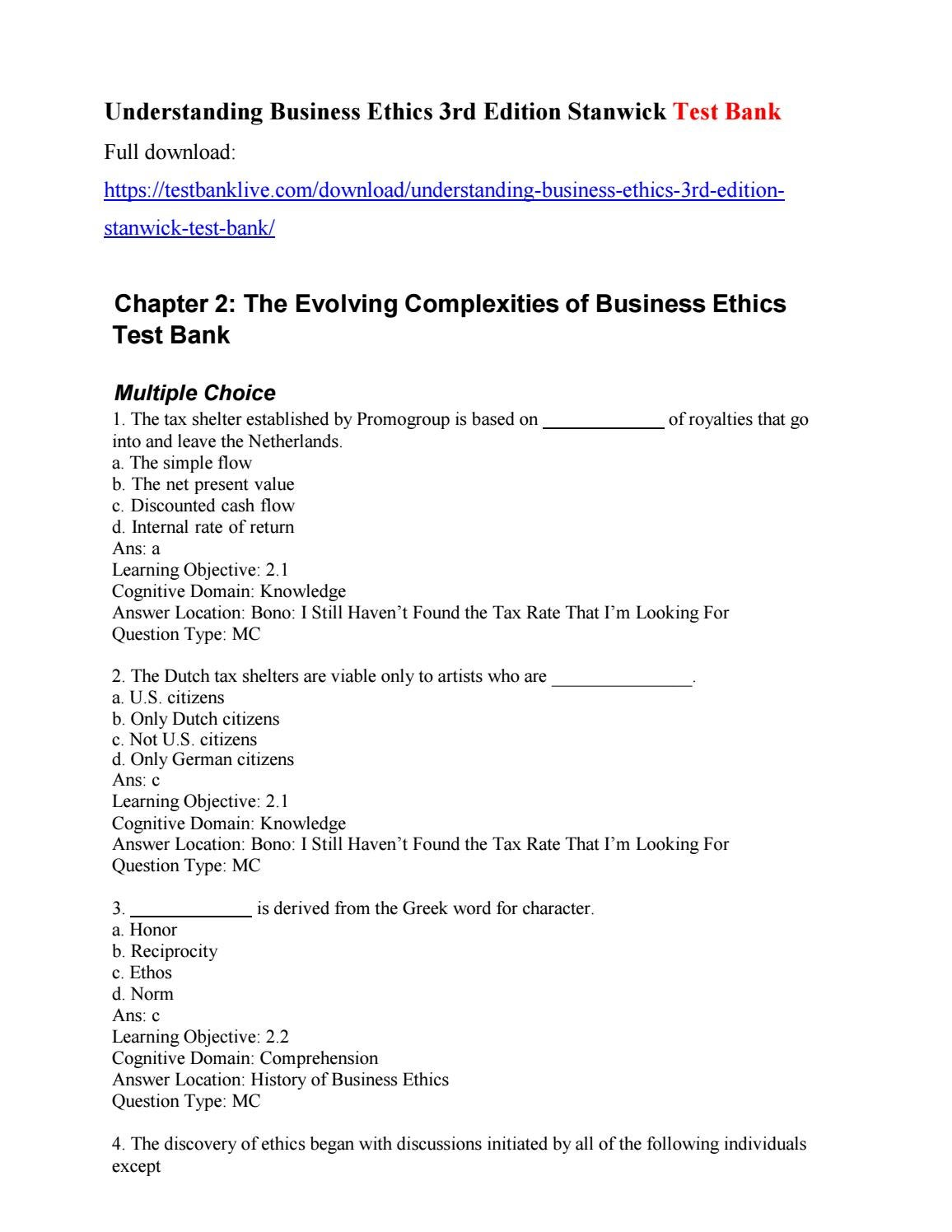Understanding business ethics 3rd edition stanwick test bank by