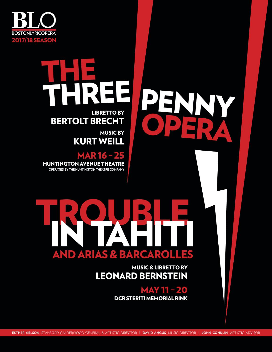 Opera In Park Saturday Night Barcarolle >> Spring 2018 Program Book The Threepenny Opera And Trouble In