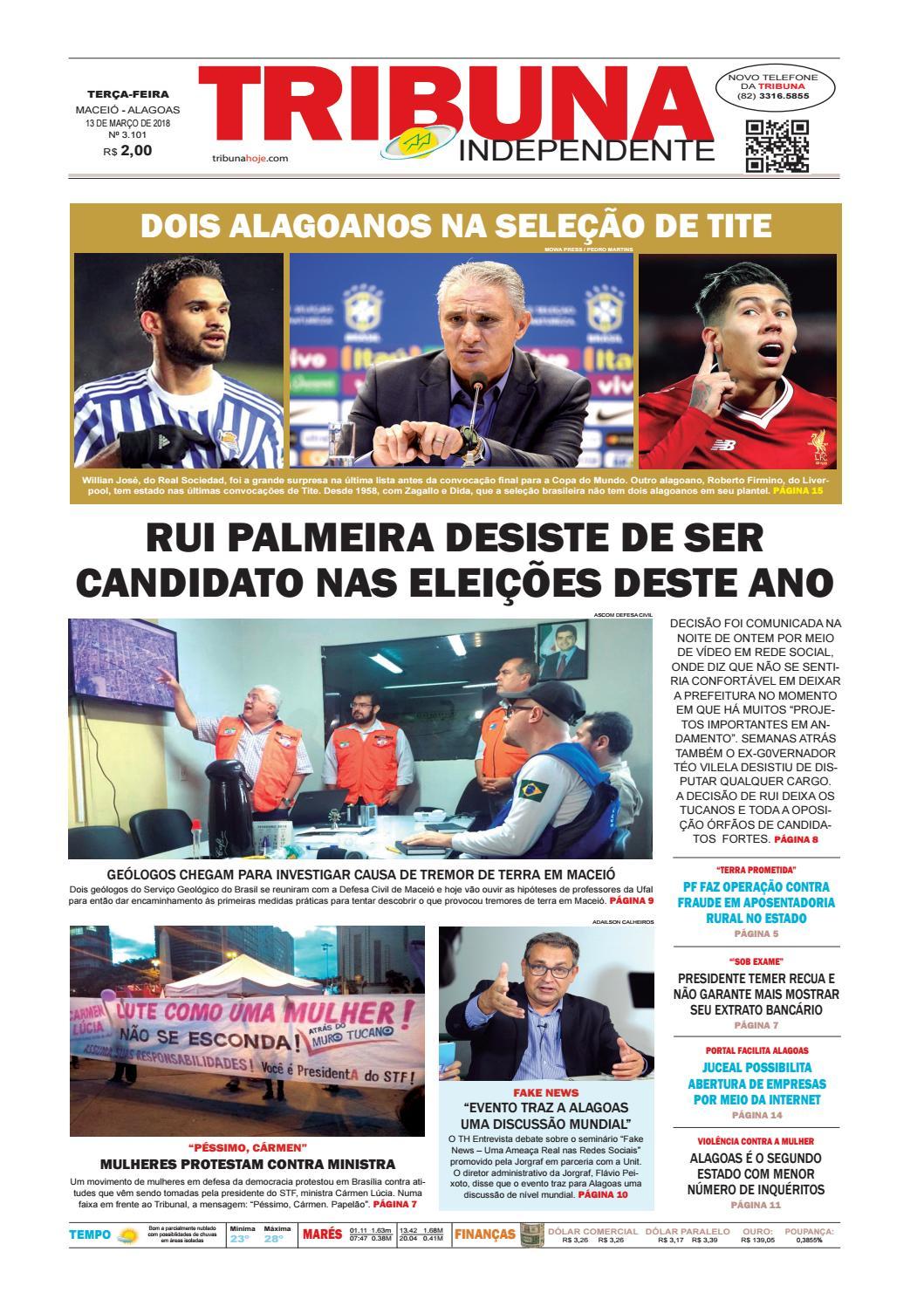 Edição número 3101 - 13 de março de 2018 by Tribuna Hoje - issuu c0ed31635d2f9
