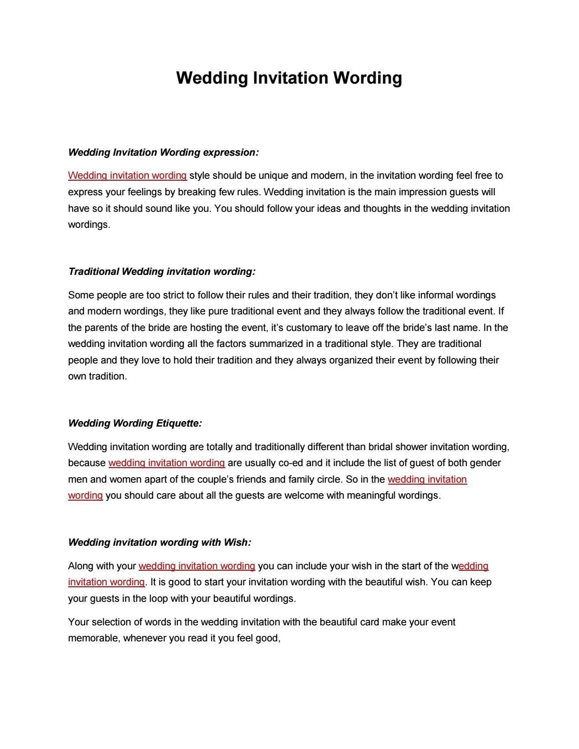 Wedding invitation wording by derek page issuu stopboris Choice Image