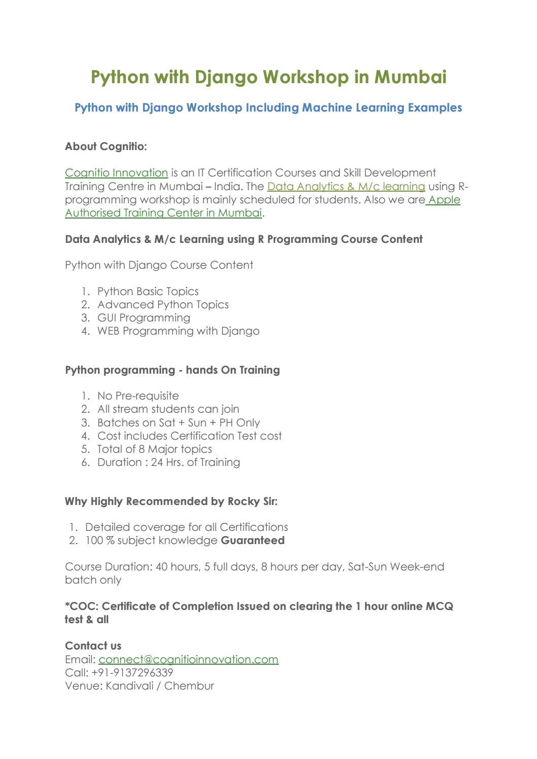 Python with Django Workshop in Mumbai - Cognitio Innovation