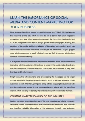 Importance of Social Media and Content Marketing by seo