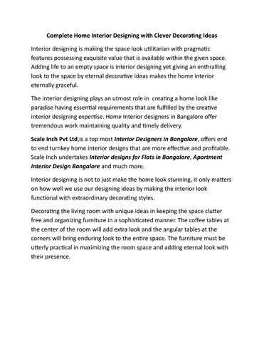 Complete Home Interior Designing With Clever Decorating Ideas Article Scale Inch By Rajeshwork Issuu