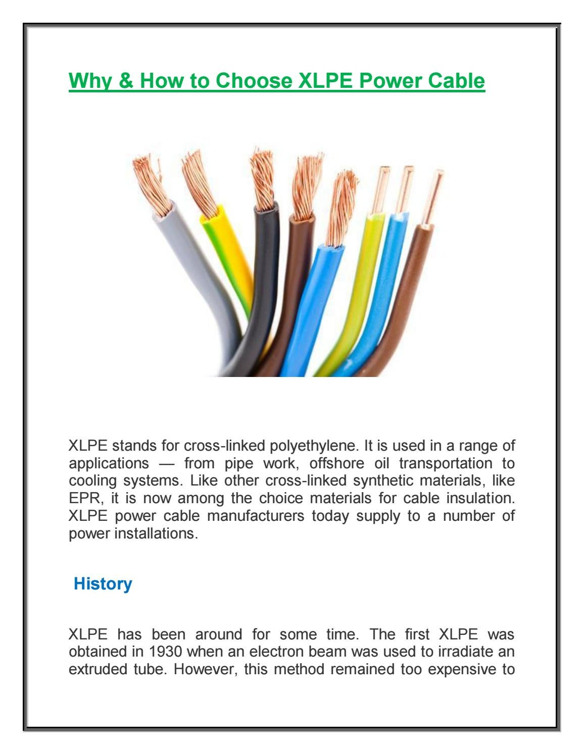 Why How To Choose Xlpe Power Cable By Ultracab Issuu History Of Electrical Wiring
