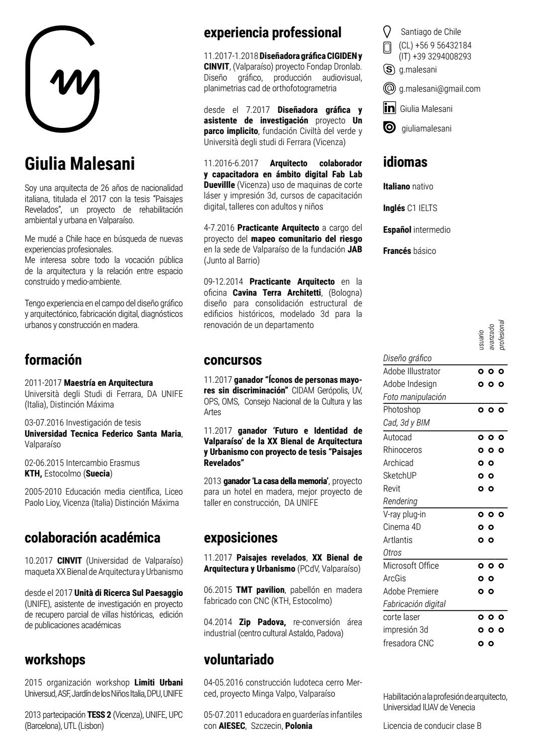 Curriculum vitae (Spanish version) Giulia Malesani by Giulia ...