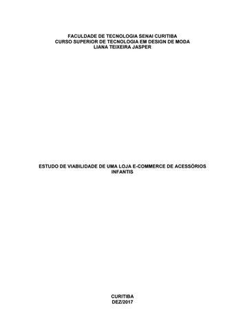 d1c5b5e46cca6 Liana Jasper - Estudo de viabilidade de uma loja e-commerce de ...