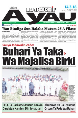 Leadership A Yau 14 Ga Maris 2018 By Leadership Newspapers Nigeria