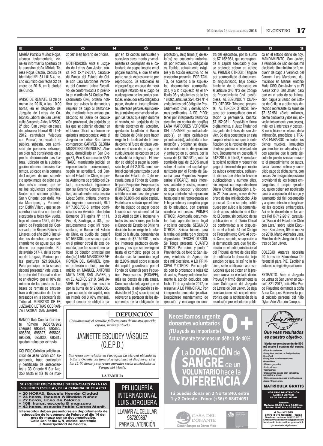 Diario 14 03 2018 by Diario El Centro S.A - issuu