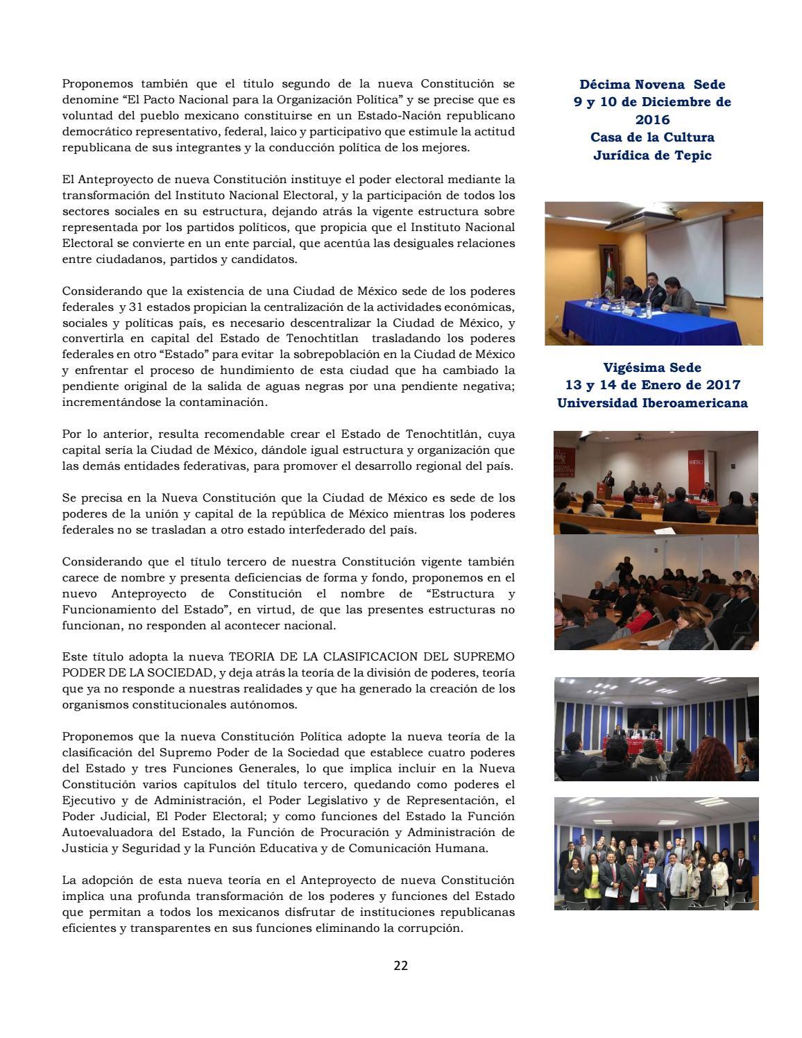 Anteproyecto De Nueva Constitucion Politica De Mexico By