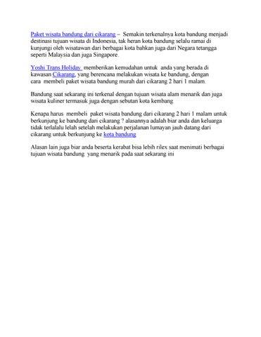 Paket Wisata Bandung Dari Cikarang By Yoshi Trans Holiday