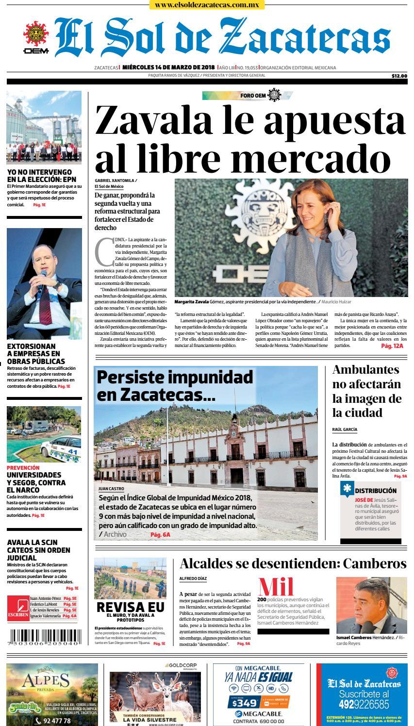 9b811e2323f El Sol de Zacatecas 14 de marzo 2018 by El Sol de Zacatecas - issuu