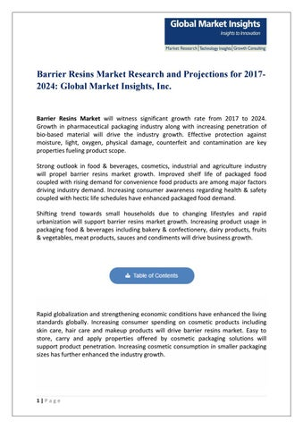 Pdf for barrier resins market, 2018 by Global Market Insights, Inc