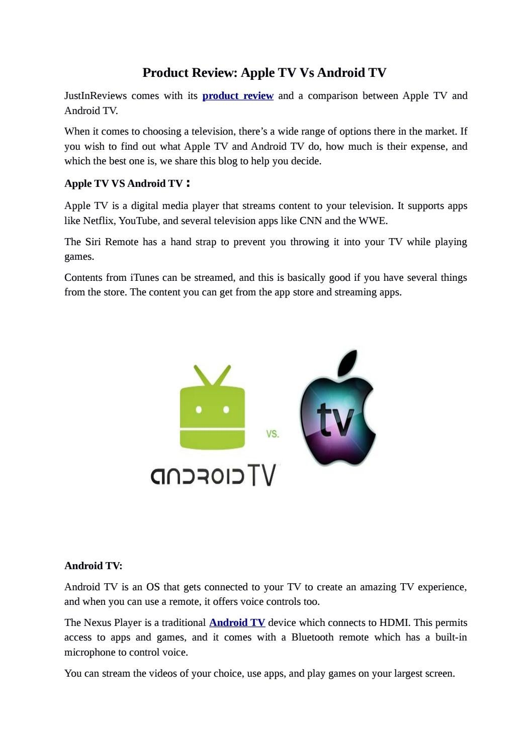 Apple tv vs android tv by sonali456 - issuu