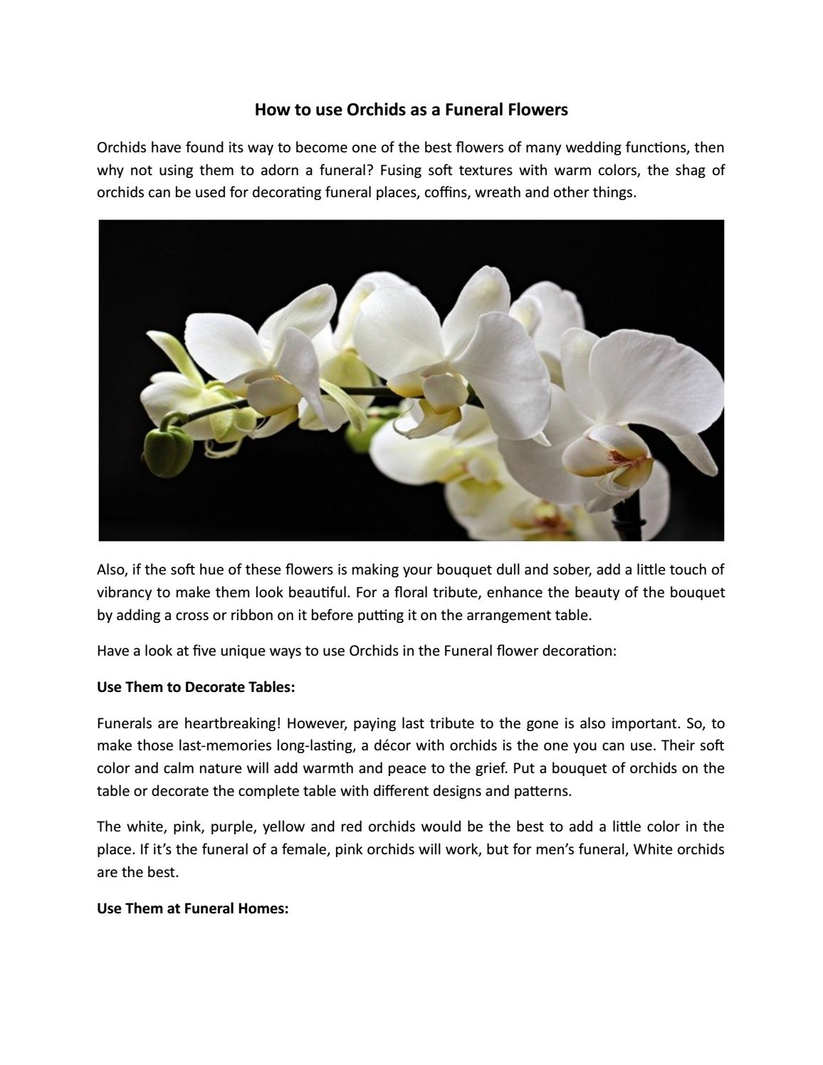 How To Use Orchids As A Funeral Flowers By Flowersandsympathyfl Issuu