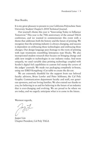 Page 9 of President's Letter