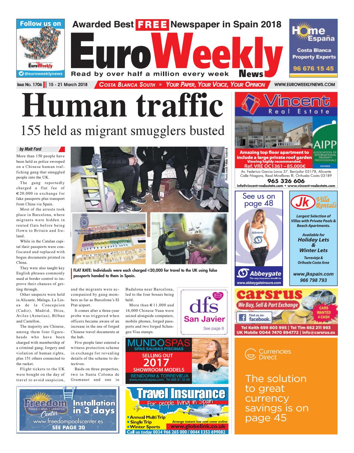 Euro Weekly News Costa Blanca South 15 21 March 2018 Issue 1706