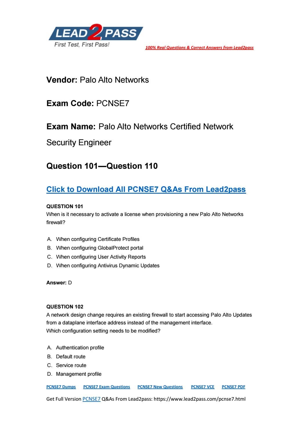 Lead2pass New PCNSE7 Exam PDF Ensure PCNSE7 Certification Exam Pass 100%  (101-110)