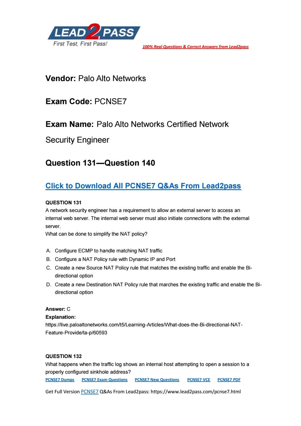 Lead2pass New PCNSE7 Exam PDF (131-140) by magichou1 - issuu