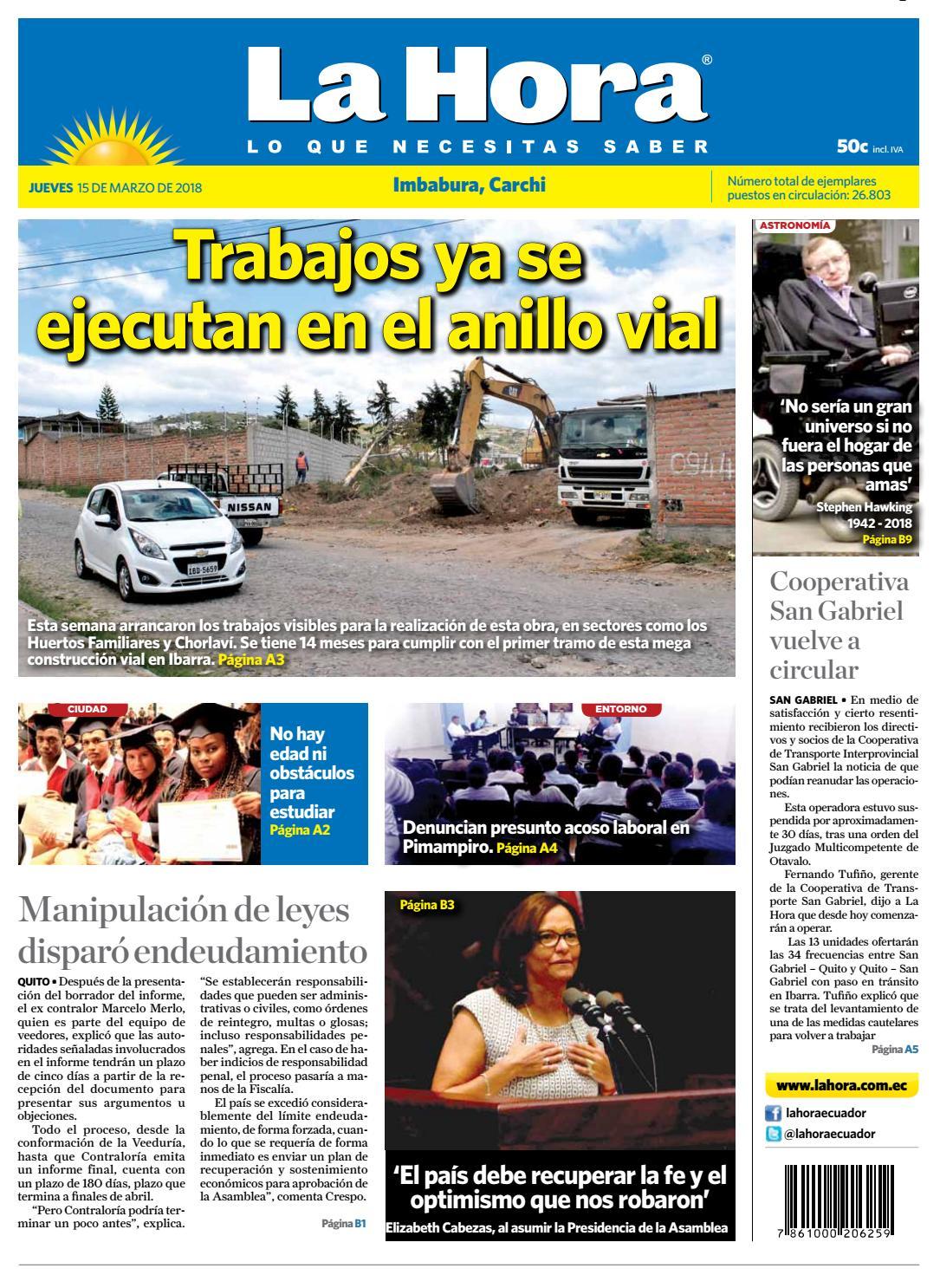 Imbabura 15 de marzo de 2018 by Diario La Hora Ecuador - issuu