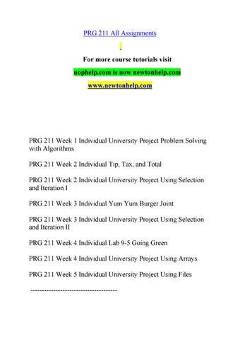 PRG 211 help Minds Online/newtonhelp com by sajchfasdhhdjas