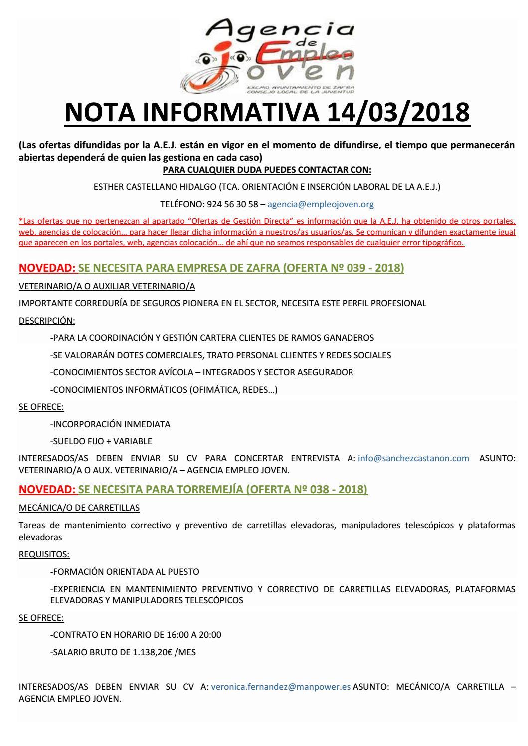 Nota informativa 14/03/18 by Segura De León - issuu