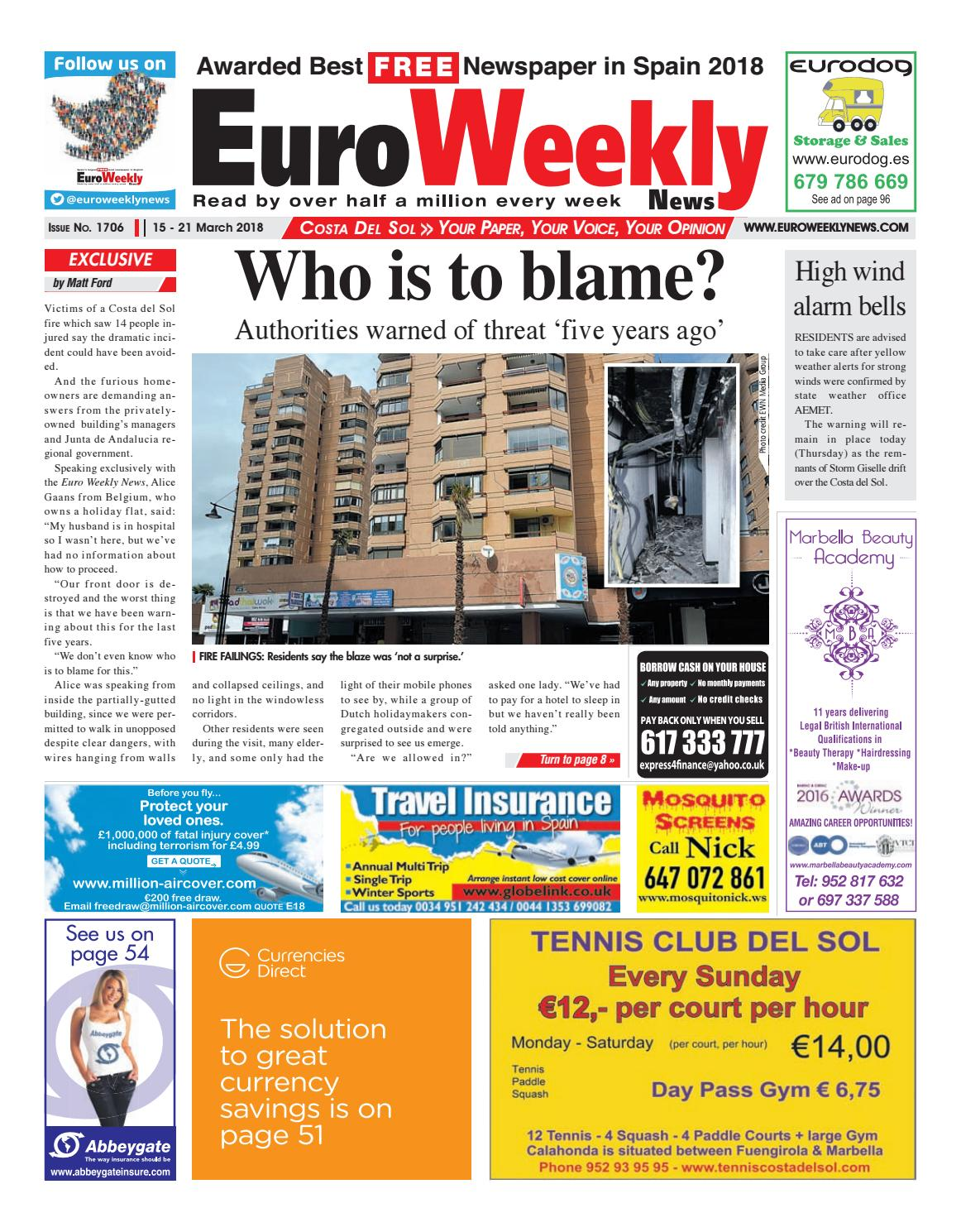 Euro weekly news costa del sol 15 21 march 2018 issue 1706 by euro weekly news costa del sol 15 21 march 2018 issue 1706 by euro weekly news media sa issuu fandeluxe Images