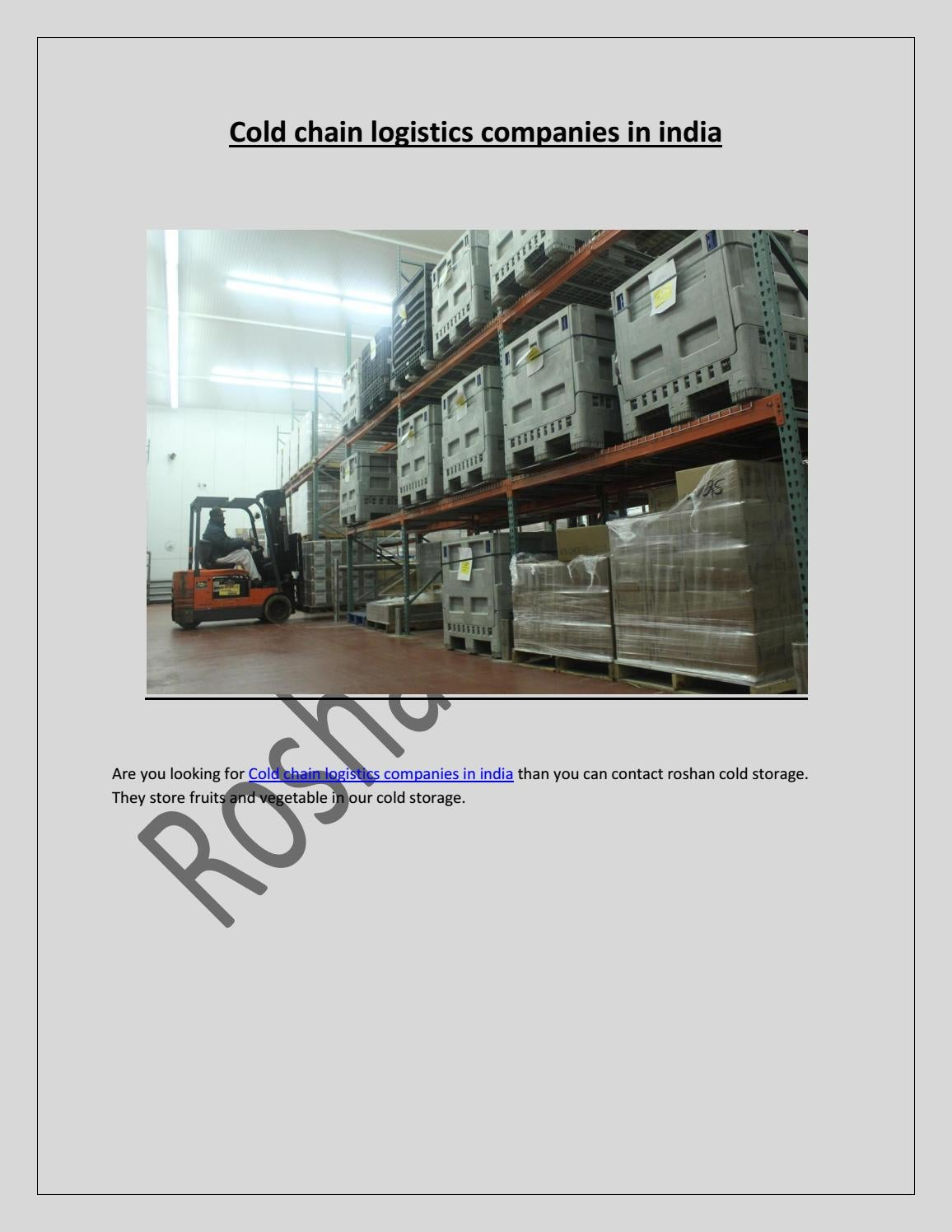 Cold chain logistics companies in india by Roshan