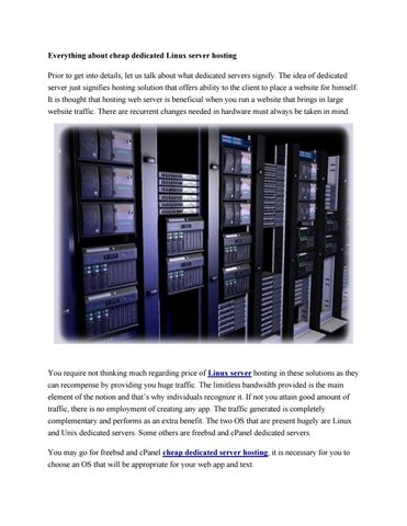 Everything about cheap dedicated linux server hosting by