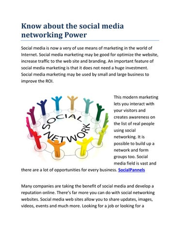 Know about the social media networking Power by Info Guest Post - issuu