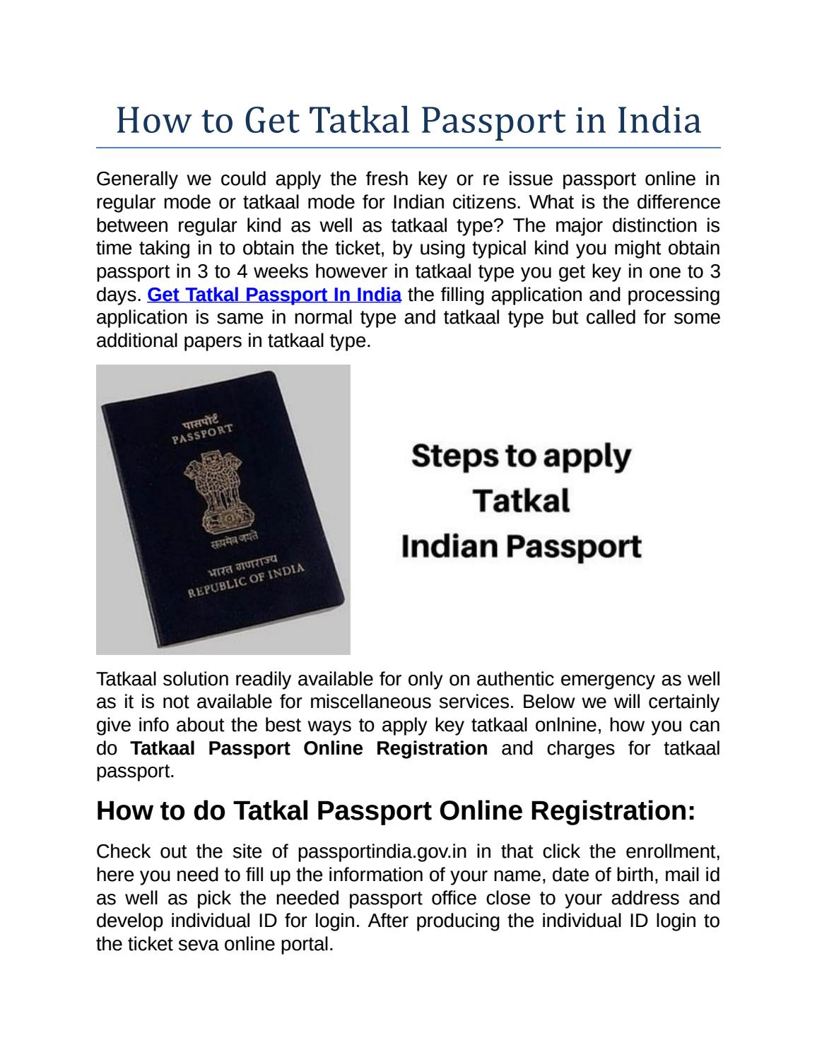 How To Get Tatkal Passport In India By Identitycard Issuu