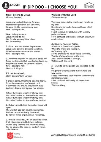 Chosen 'Ip dip doo - I choose you' song lyrics (Faith @ Home