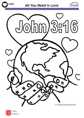 Love John 3 16 Bible Colouring Activity Faith Home By The Salvation Army Uk Territory With The Republic Of Ireland Issuu