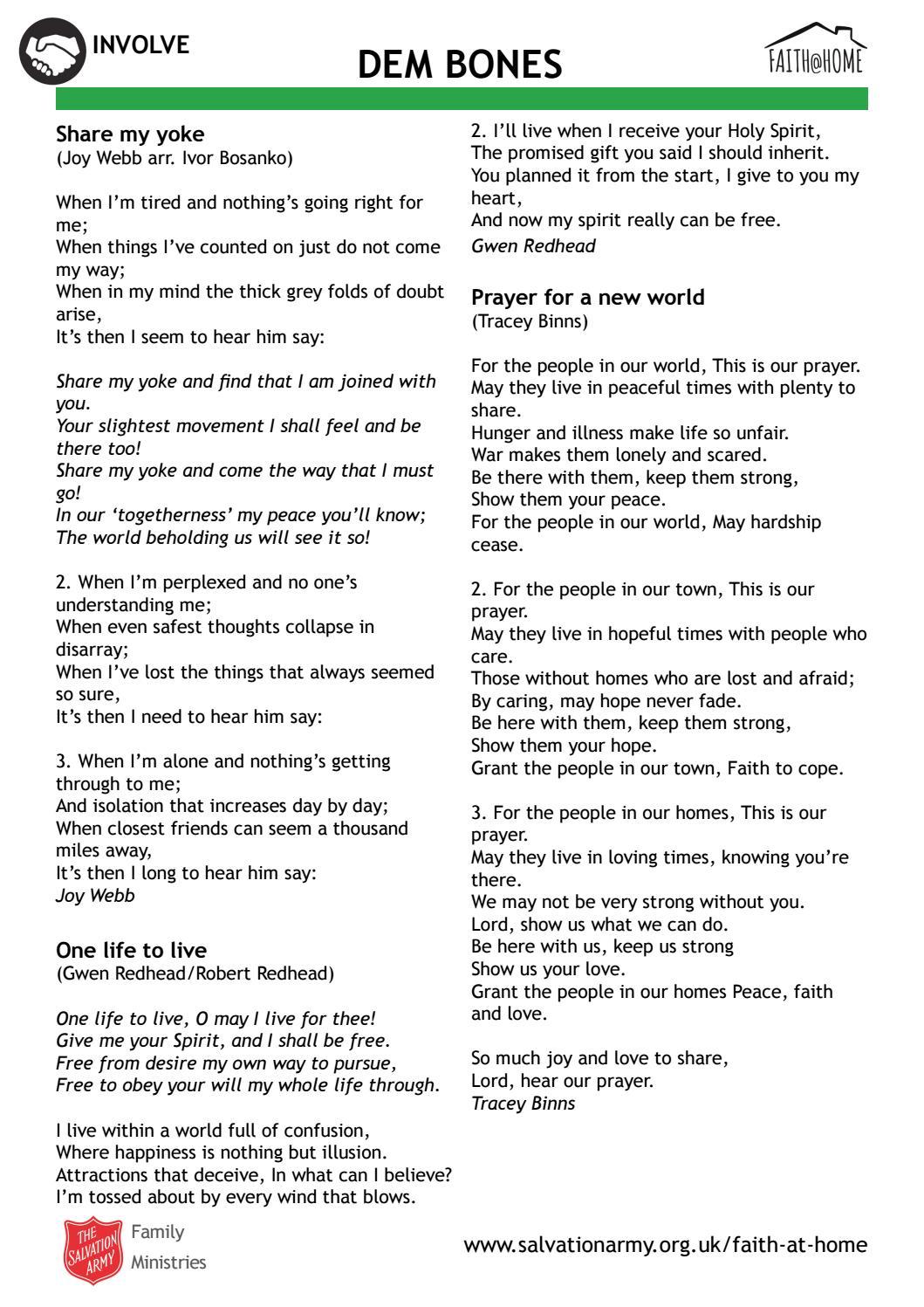 Involve' Dem Bones song lyrics (Faith @ Home) by The Salvation Army
