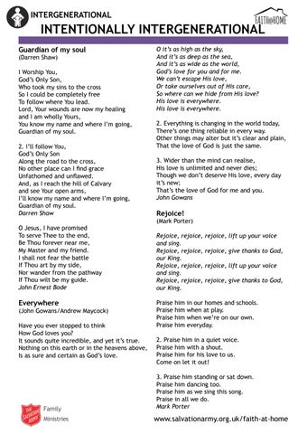 Intergenerational song lyrics (Faith @ Home) by The Salvation Army