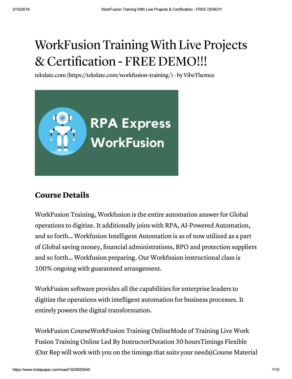 Workfusion Training With Live Projects Certification Free Demo