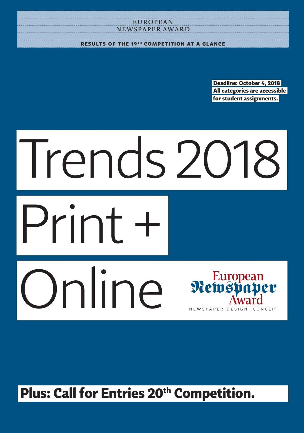 Trends 19th European Newspaper Award Call For Entries 20th