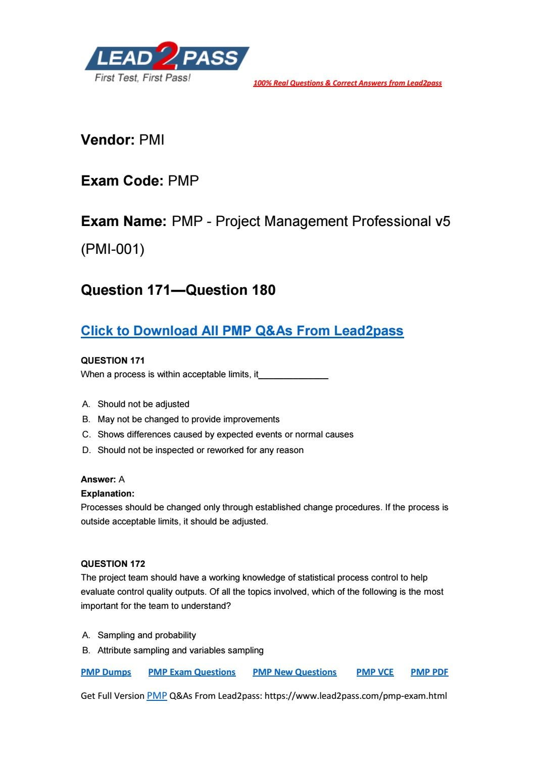 Lead2pass Pmp Dumps Pdf Free Download 171 180 By Magichou1 Issuu
